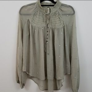 Free People VGUC Gray/Green Peasant Top Size S